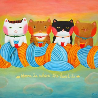 [] Cattitude Cat oil paintings Order - Warm Family Series -F17