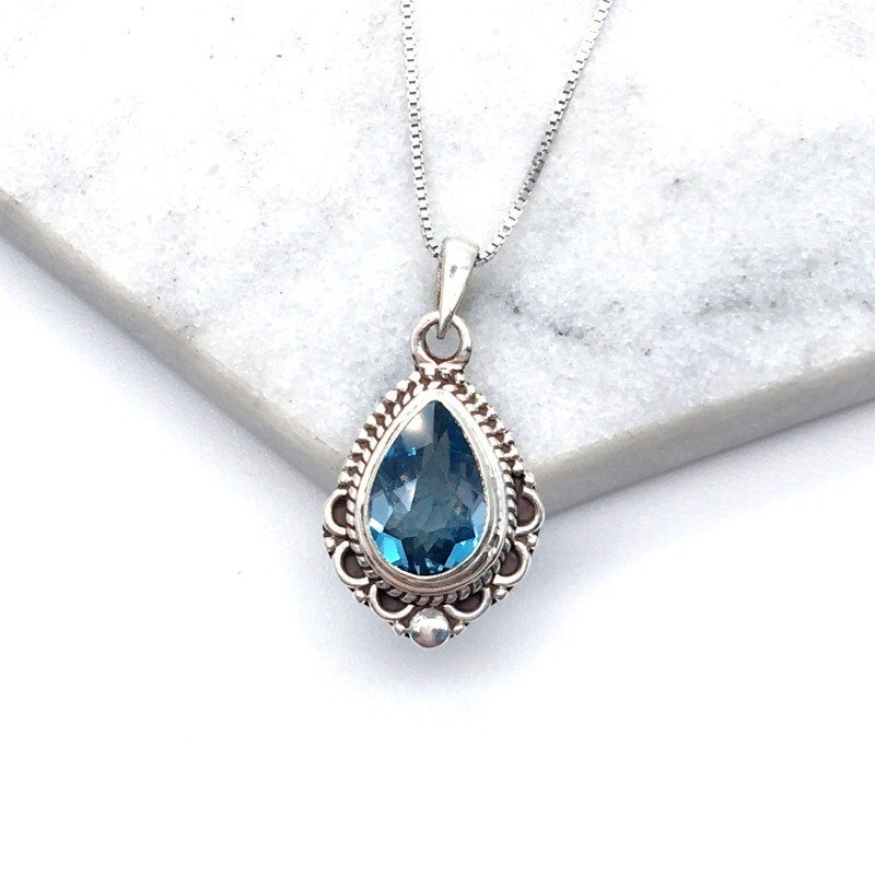 Blue Topaz 925 sterling silver exotic lace necklace Nepal handmade mosaic production (style 2)
