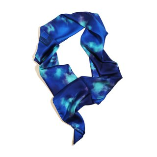 """Labyrinth11"" Dark Blue Fashion Scarf Made in Italy"