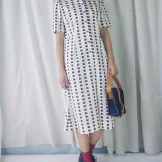 Treasure Hunting Vintage - 60s Geometric Print White Stand Collar Temperament Vintage Dress
