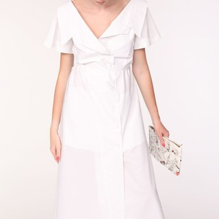 Open Collar Short Sleeves Cotton Maxi Shirt / White