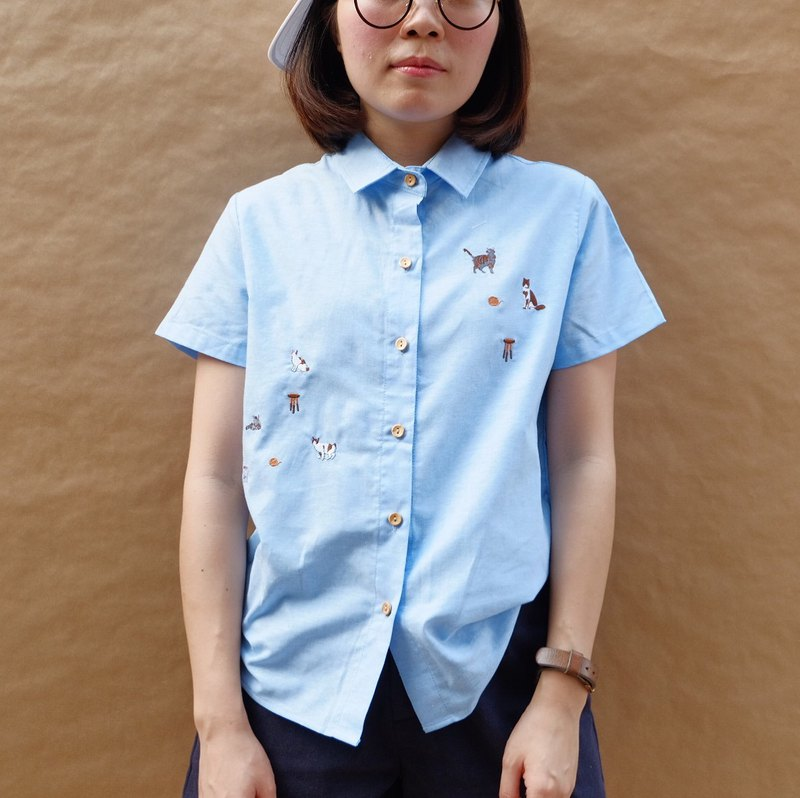 Cat Party Shirt : Blue
