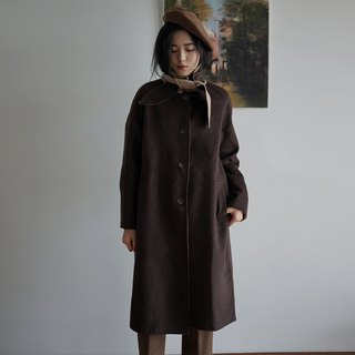 Coffee double-faced wool coat
