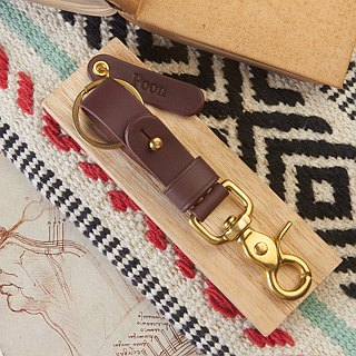 Brown Leather Key Fob BRASS belt loop Key Landyard // Personalize name //Keychai