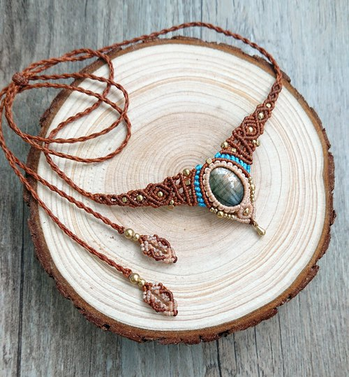N56 Boho folk style South American wax braided brass Labradorite necklace Clavicle chain