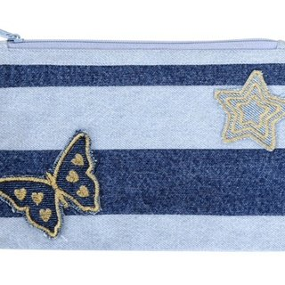 Happy Distraction Denim Pouch