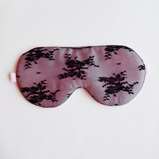 Black Lace Pink sleep mask / Floral sleep mask ,100%silk lace mask