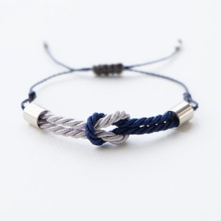 Tiny tie the knot rope bracelet in Light gray / Navy blue