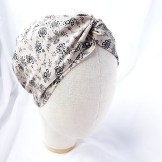 Beige pattern headband scarf wide hair band
