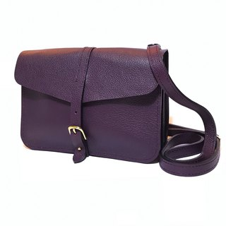 Grape purple red leather crossbody bag