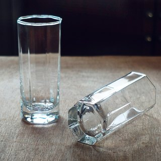 Early Imported Transparent Cup - Octagonal • Fine (Cutlery / Used / Old / Glass / Geometric / Simple / Juice)