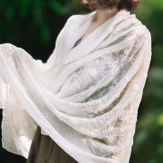 Artichoke dye-free series - net through the cotton embroidery multi-function shawl / home decoration