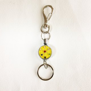 key ring with reel, Czech vintage glass beads  yellow