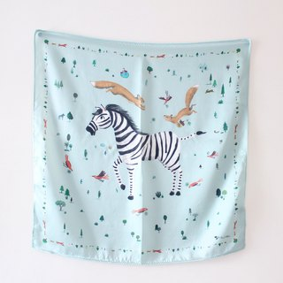 Zebra & Squirrel Silk Scarf I Forest Habitant