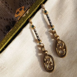 S-shaped classical lustrous brass ring earrings