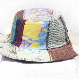 Moroccan wind stitching hand-woven cotton hat woven hat fisherman hat visor straw hat - rainbow ocean hat