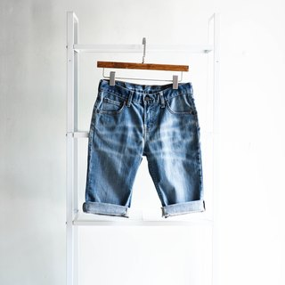 River water mountain - levis 572 / W27 love water blue ocean stream girl cotton tannin antique shorts ancient leather denim pants vintage