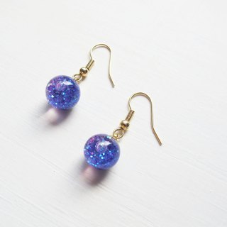 Rosy Garden Purple glitter with water inside glass ball earrings