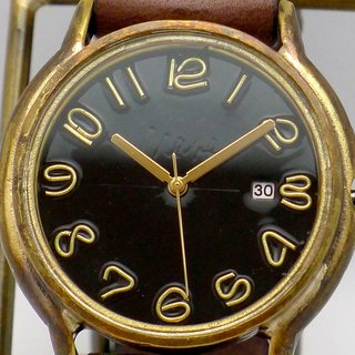 "手作り時計 Hand Craft Watch DATE""J.B.-DATE"" JUMBO Brass DATE(日付) カラーダイアル 黒 [JUM31DATE BK/BR]"