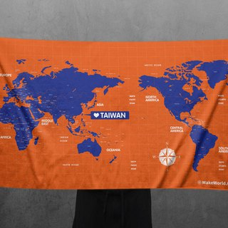 Make World map manufacturing sports bath towel (靛橘)