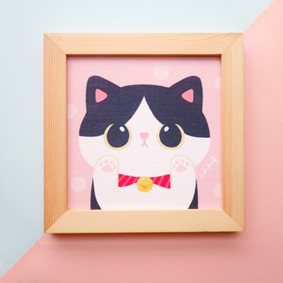 ChiaBB cute fat cat star / five kinds of color wooden frame painting (15x15cm)