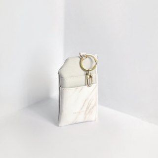White marble Card Wallet, Keychain, Customized Leather Card Case