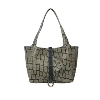 AMINAH-Gray Crocodile Embossed Leather Tote [Art.201]