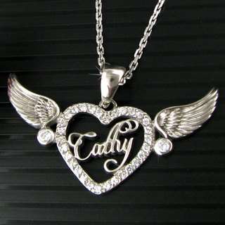 Customized heart .925 sterling silver jewelry AH00004- Angel Necklace