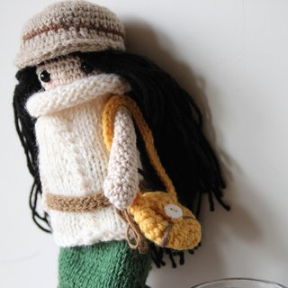 Amigurumi crochet doll: Knitting turtleneck white sweater, green Long skirt, black hair, yellow crossbody bag, wool cap, hemp belt