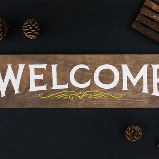 Welcome Wood Sign | Hand Painted Wooden Sign | Rustic Wood Decor