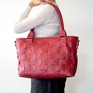 Furniture · cowhide leather / knitted leather, mesh leather / with shoulder · 2 WAY leather tote bag / red / A 4 fits all