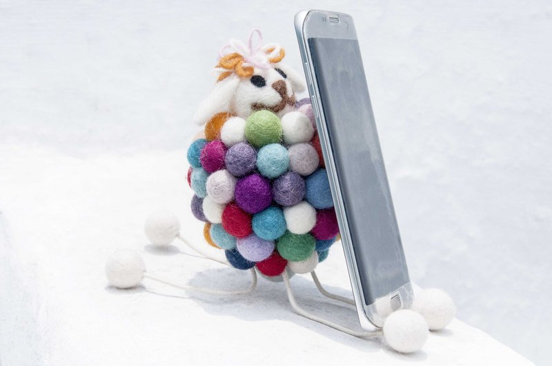 Natural wool felt mobile phone holder / iphone android mobile phone holder / animal mobile phone holder - Rainbow sheep