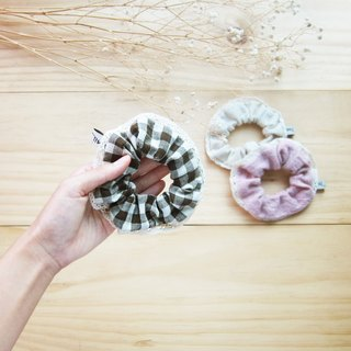 Handmade Donuts with Lace Hair Bands Natural Dyed Cotton  / 6 pcs per 1 set