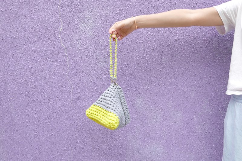 Duo Color Triangle Handbag, crochet, knit, handmade (Light Grey / Yellow)