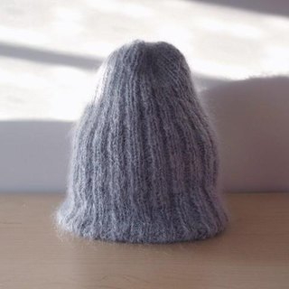 Mohair's rib knitted hat / gray knitted hat Made-to-order production