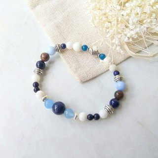 Days and Seas 【Mind Treasures】 Lapis Lazuli. Blue Agate Blue Chalcedony. White Pelican. Indian Agate. Tibetan Silver Men and Women Neutral Bracelet Gifts