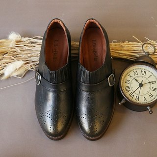 [Lu Lu era] manual rub color carved shoes - black copper