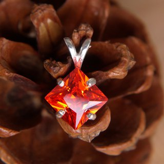 Sterling Silver Diamond Pendant - Austrian Red Lab Gems
