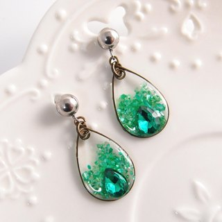 Green water droplets. Clip earrings, needle earrings
