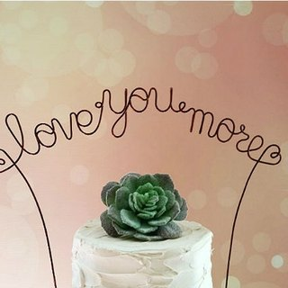 LOVE YOU MORE Personalized Wedding Cake Topper Banner, Custom Rustic Wedding Cake Topper, Custom Shabby Chic Wedding Cake Decoration