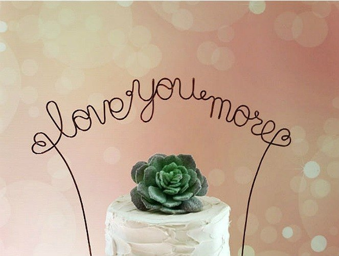 Love You More Personalized Wedding Cake Topper Banner Custom Rustic