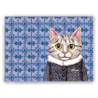 Hand-painted illustration universal / postcards / cards / illustration card - retro tile 03 + coat gray tabby