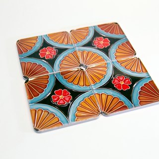 Day spring flower brick coaster four-piece group