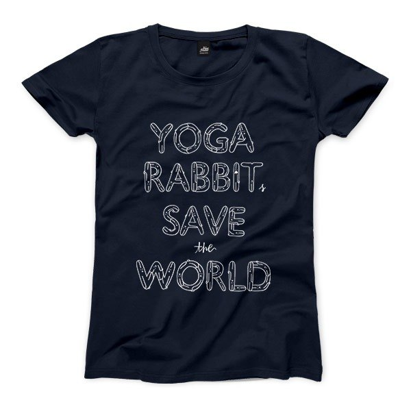 YOGA RABBITS SAVE the WORLD - dark blue - Women's T-Shirt