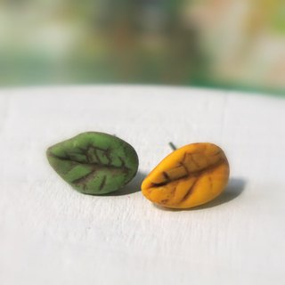 Leaf earrings green yellow leaves ear pin or ear hook gift for her / handmade gi