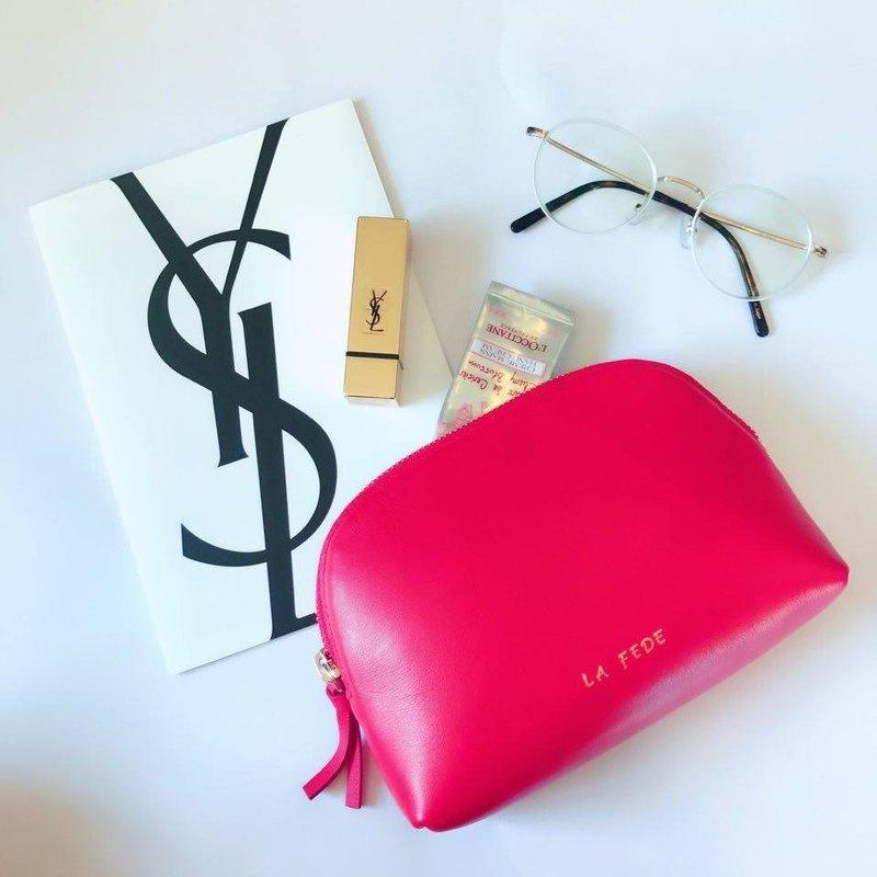 【La Fede】<<客製化姓名>>真皮 簡約 收納包 化妝包