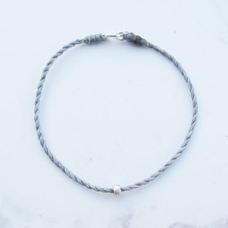 Big staff Taipa [manually made] long snowflake silver beads × wax rope bracelet peach blossom lucky