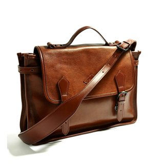 Full brown leather vintage bag - small
