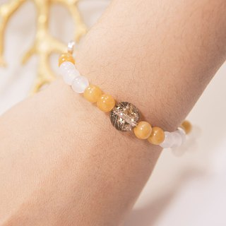 Wealth Bracelet Beads Precious Stones Rutilated Quartz Topaz Silver Moon Star