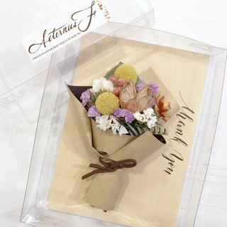 Dried flowers small bouquet Magnet - gold stick ball